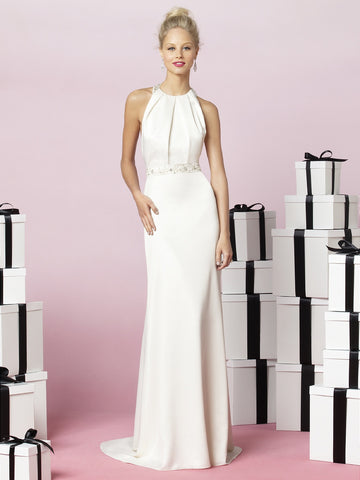 Attractive Chiffon & Satin Sheath round-neck Slit Wedding Dress