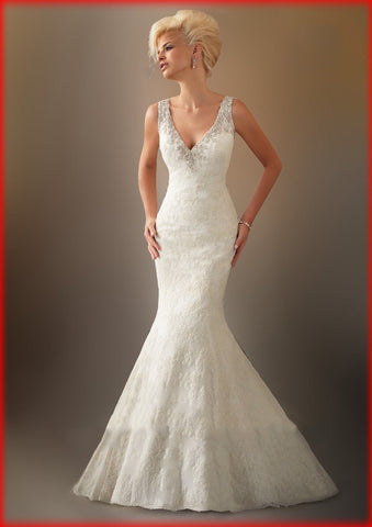 Beautiful Elegant Stretch Satin Sleeveless Beaded Wedding Dress