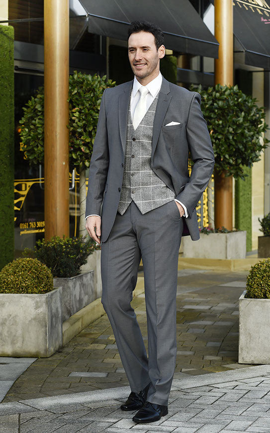Grey Slim fit Two Piece Grooms Suit For Hire