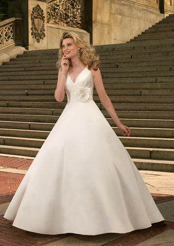 Flawless Tulle & Satin A-line with V-Neck and belted High Waist with Floral Detailing Wedding Dress