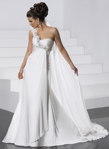 Attractive Chiffon & Satin Sheath Wedding Dress