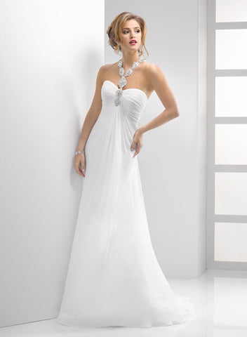 Attractive Chiffon & Satin Sheath V-neck Slit Wedding Dress