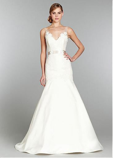 Surrey Wedding Shop Tulle & Satin Trumpet V-neck Neckline Wedding Dress - The Wedding LookBook