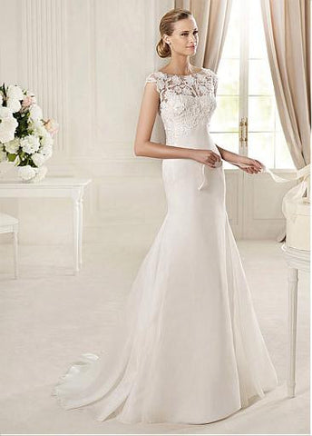 Surrey Wedding Shop Venice Lace, Organza & Satin Mermaid/trumpet Bateau Neckline Raised Waist Wedding Dress - The Wedding LookBook