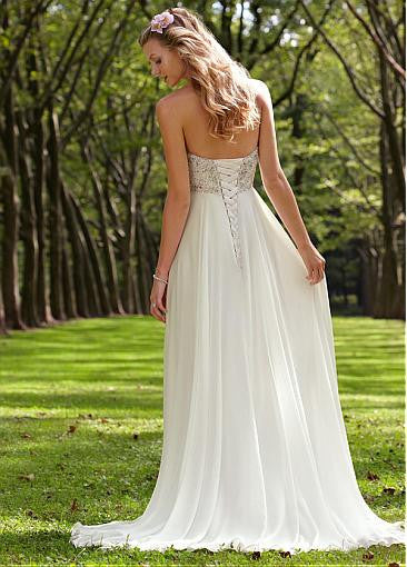 Surrey Wedding Shop Chiffon & Satin Empire Sweetheart Empire Waist Wedding Dress - The Wedding LookBook back view