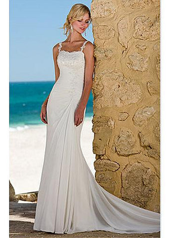 Gorgeous Sheath Spaghetti Straps Chiffon Wedding Dress