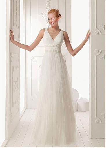 Junoesque Tulle & Satin Empire V-neck Raised Waist Tank Sleeve Beaded Wedding Dress - The Wedding LookBook