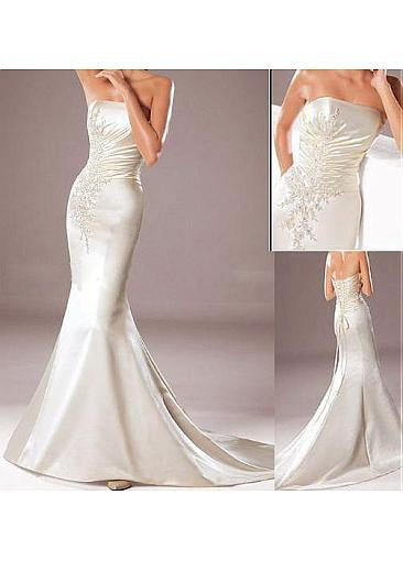 Surrey Wedding Shop Beautiful Satin Mermaid Wedding Dress - The Wedding LookBook Multi View