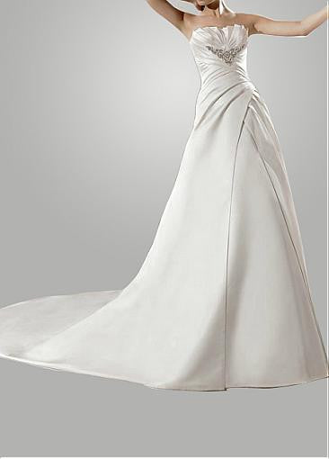Surrey Wedding Shop Satin A-line Strapless Wedding Dress - The Wedding LookBook