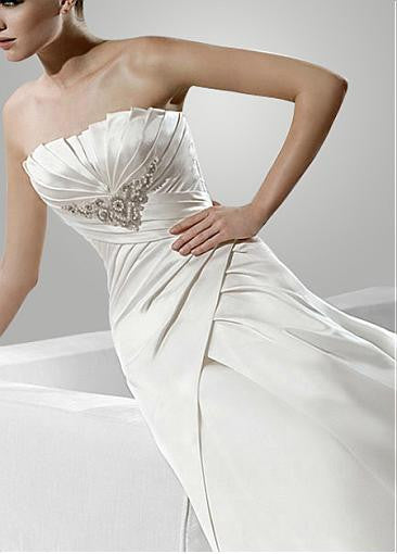 Surrey Wedding Shop Satin A-Line Strapless Wedding Dress Bodice View