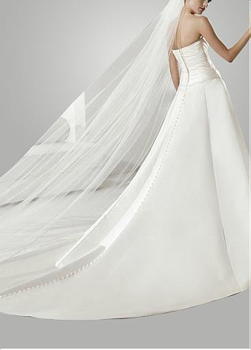 Surrey Wedding Shop Satin A-Line Strapless Wedding dress Back View