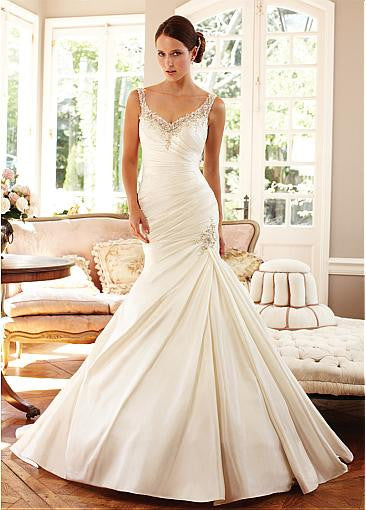 Surrey Wedding Shop Tulle & Satin V-neck Neckline Trumpet Wedding Dress - The Wedding LookBook