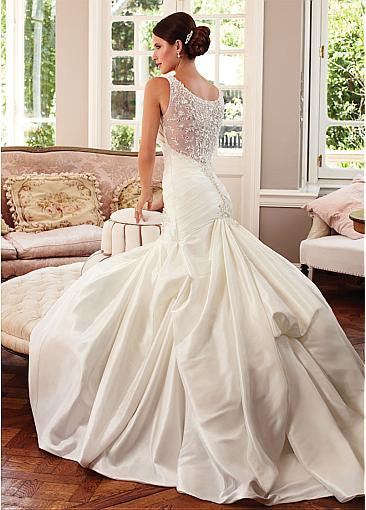 Surrey Wedding Shop Tulle & Satin V-neck Neckline Trumpet Wedding Dress - The Wedding LookBook Back View