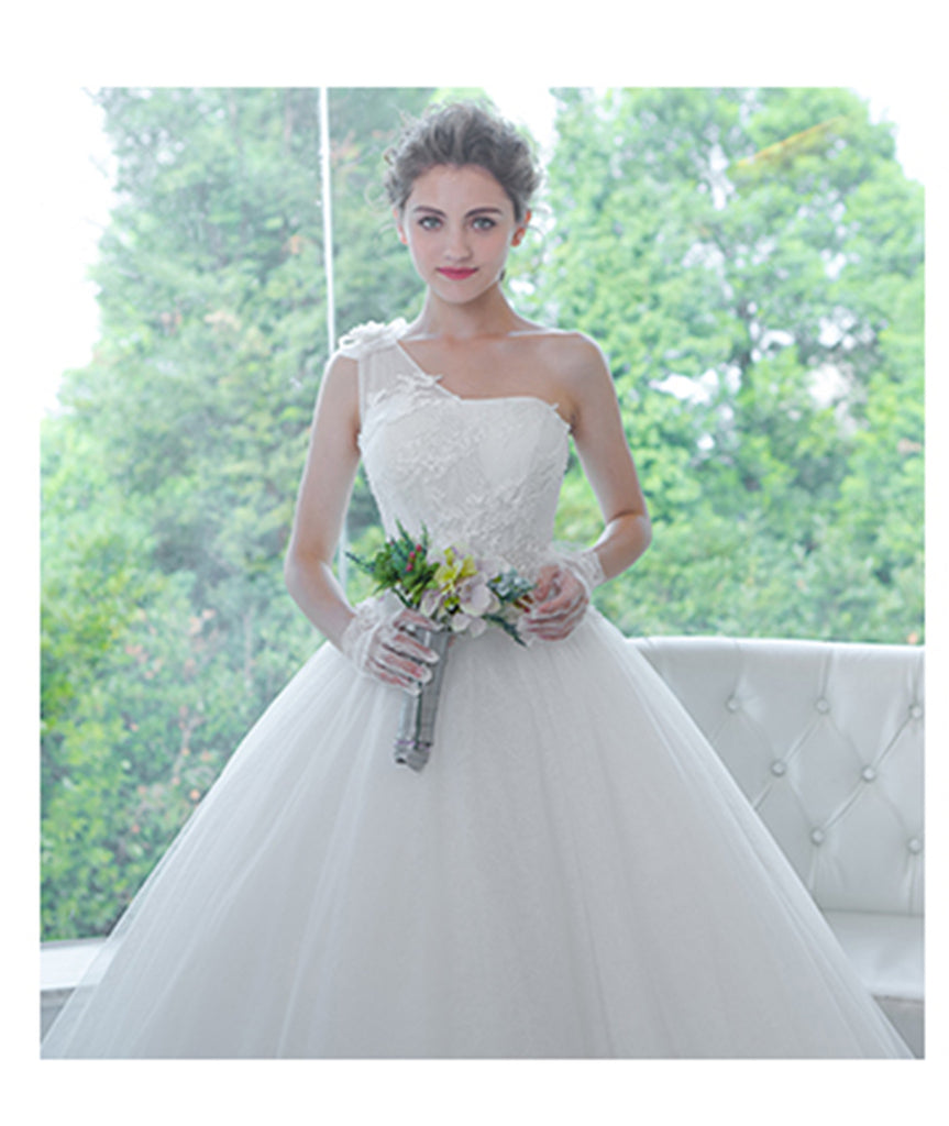 Stunning Lace & Organza & Tulle & Taffeta over the shoulder Neckline A-line Wedding Dress - The Wedding LookBook