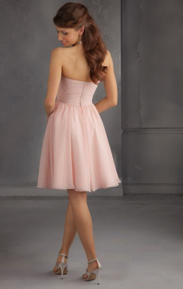 Surrey Wedding Shop Beautiful Knee-Length Light Pink Bridesmaid dress - The Wedding LookBook Back View