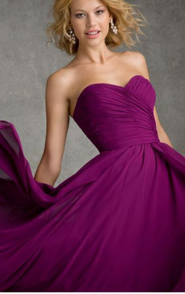 Surrey Wedding Shop Beautiful Floor Length A-Line Bridesmaid Dress - The Wedding LookBook front view
