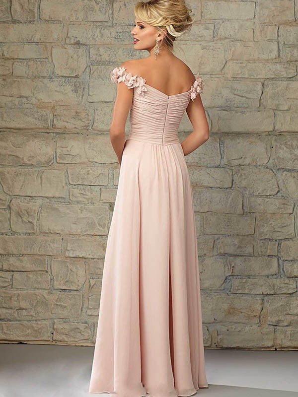Surrey Wedding Shop Beautiful A-Line Princess Sleeveless Off the Shoulder Bridesmaid Dress - The Wedding LookBook back veiw