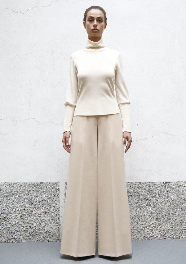 Flared cashmere trousers