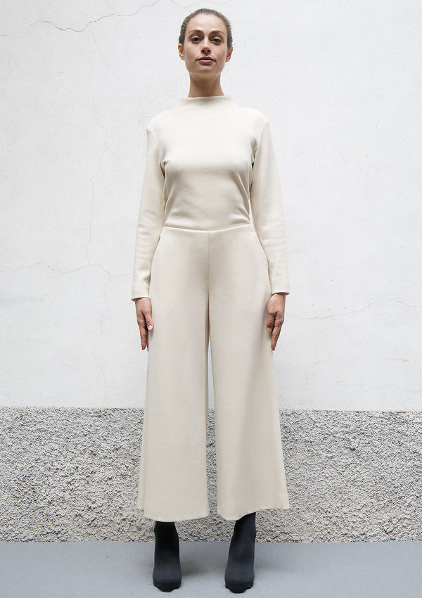 Flared cropped jersey trousers