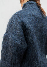High collar brushed half coat