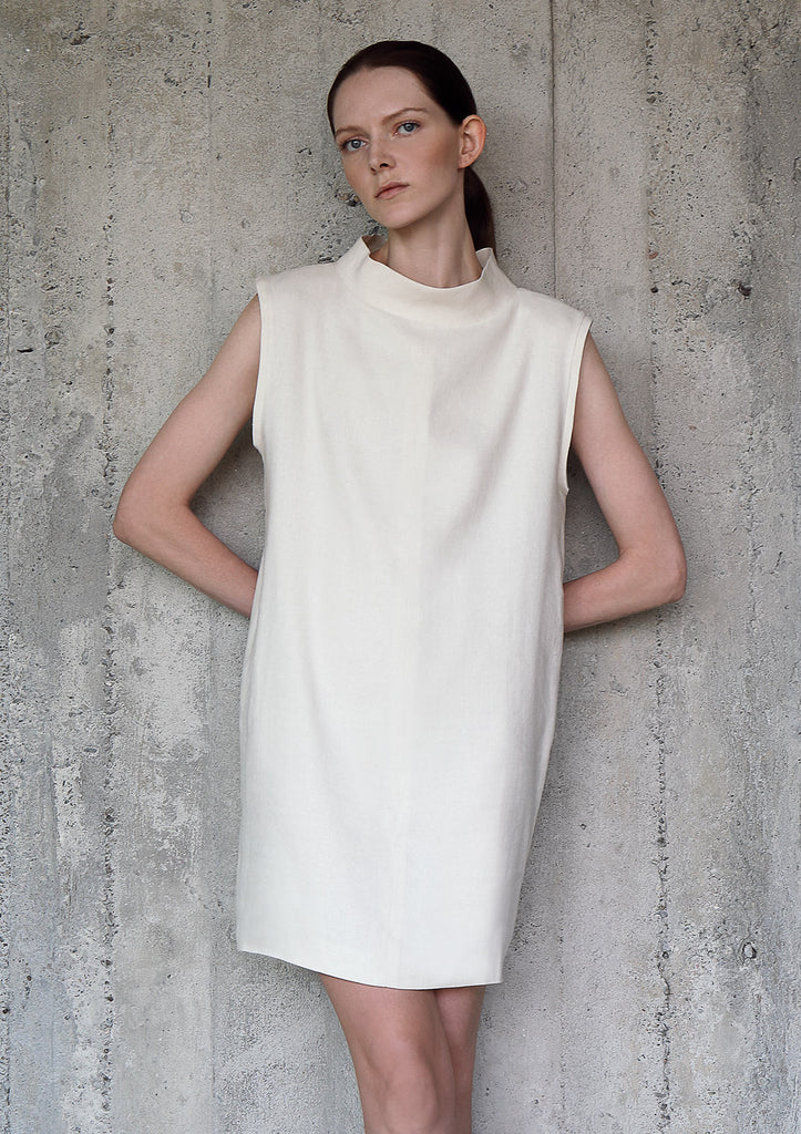 High collar hemp silk dress