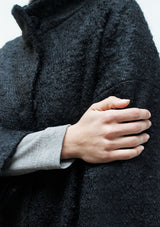 High collar mohair half coat