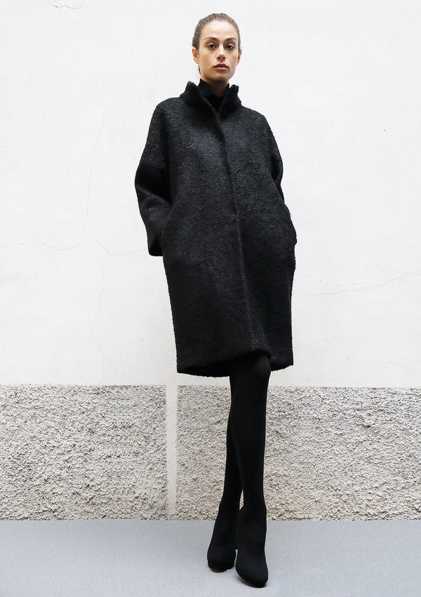 High collar mohair coat