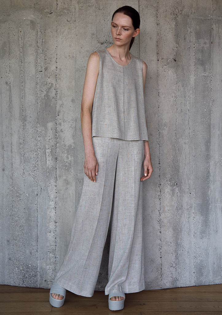 Divide viscose top and flared trousers