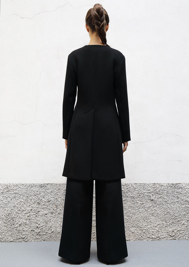 V neck wool crepe coat