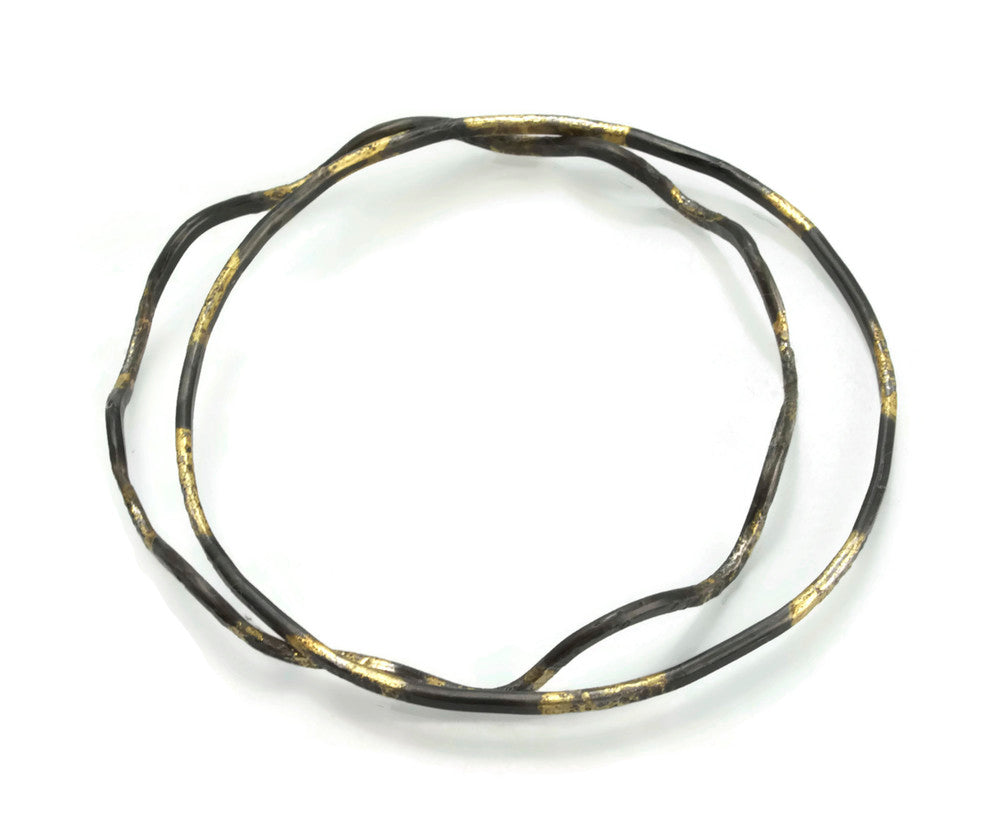 Scalloped Hammer textured bangle with 20 Karat gold