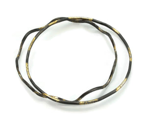 Straight Hammer textured bangle with 20 Karat gold