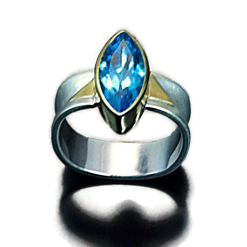 Blue Topaz Ring Sterling and 22 Karat Gold