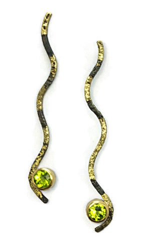 Steel fused with 20 Karat Green Gold with faceted Peridot set in 22 Karat Gold