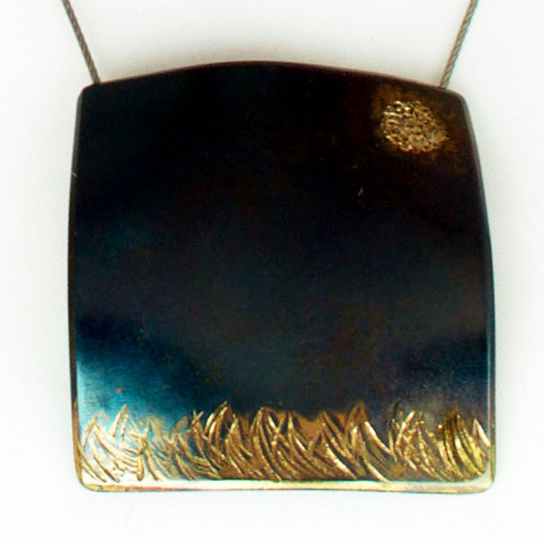 Moonlit Field 20 Karat Green Gold fused over chased scene on steel with long stainless steel cable.