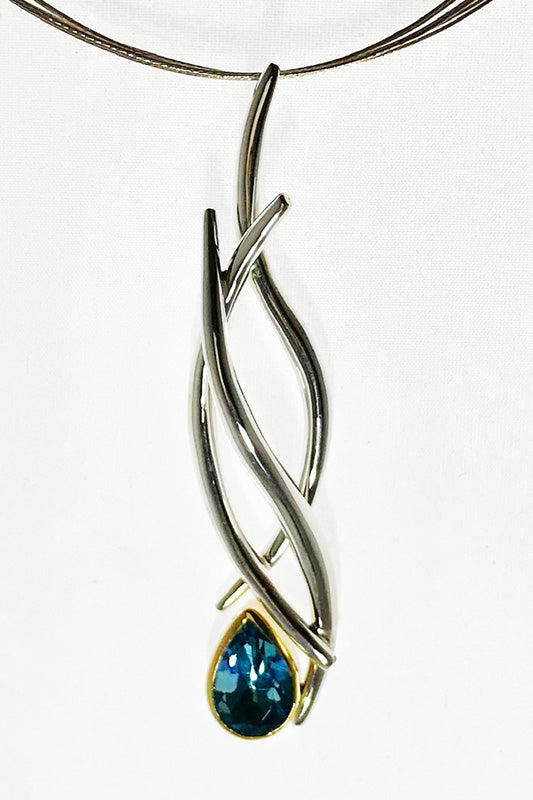 Blue Topaz hollow formed pendant necklace