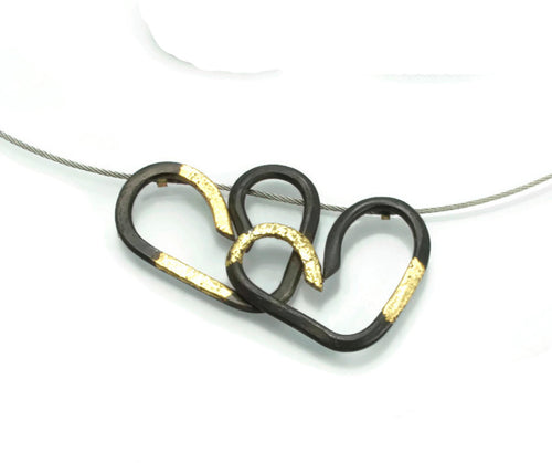 Hearts Together 20 Karat Gold fused to steel
