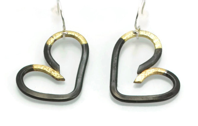 Heart Earrings Textured Steel fused with 20 Karat Gold