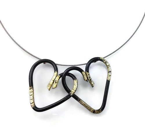 Hearts Intertwined Steel with 20 Karat Gold