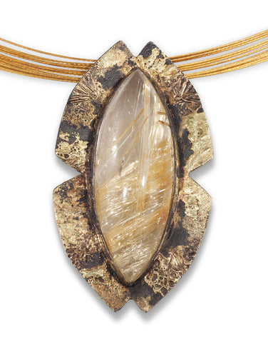 Rutilated Quartz Steel Pendant with 18 and 20 Karat Gold