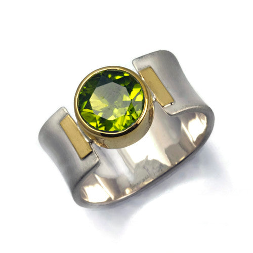 Faceted Round Shaped Peridot Ring Sterling and 22 Karat Gold