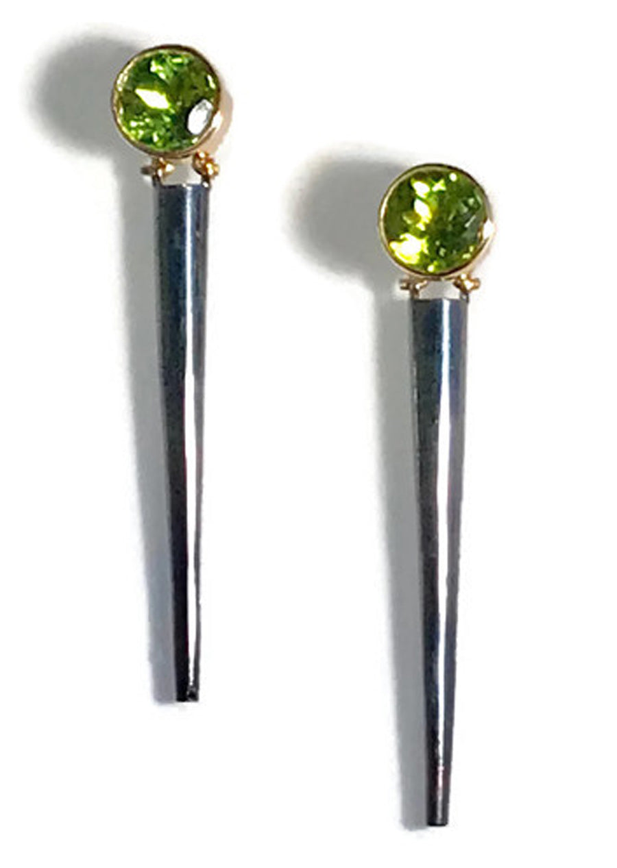 Faceted Round Peridot Enhancer Earrings in 22 Karat Gold and Argentium