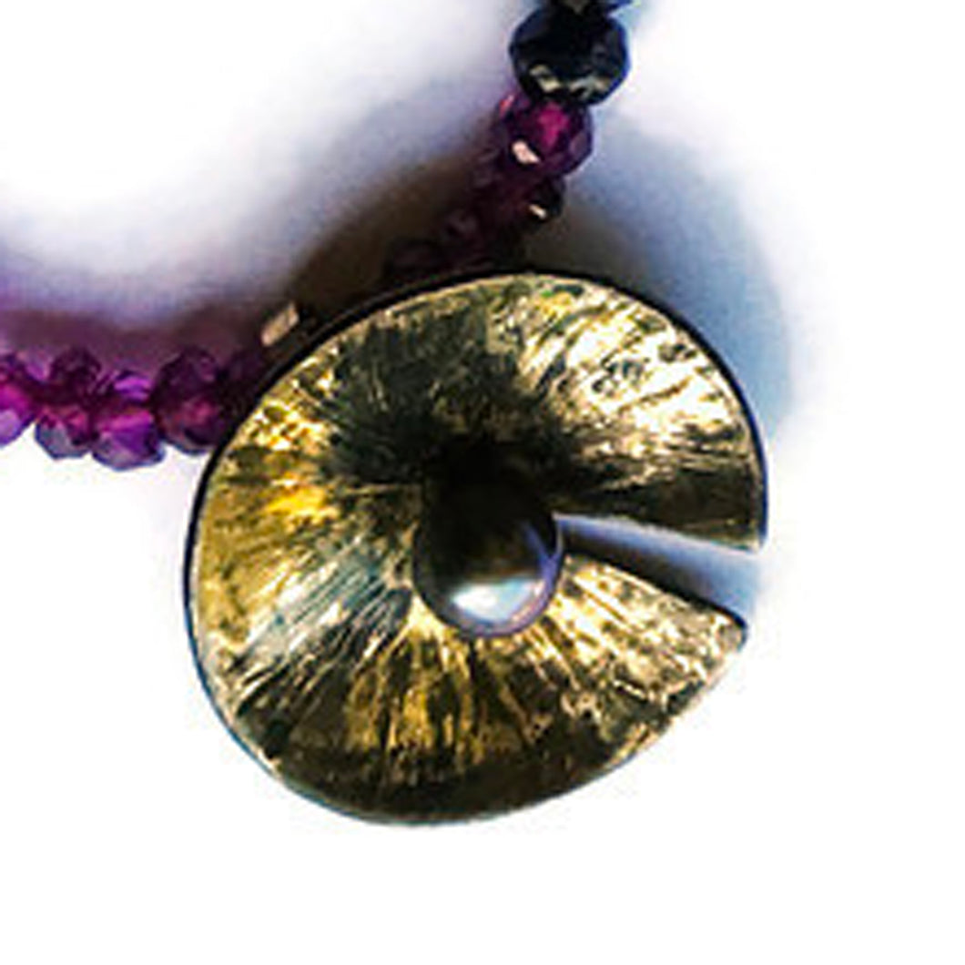 Lily Pad Steel Pendant with Freshwater Pearl and 20 Karat Fused Gold