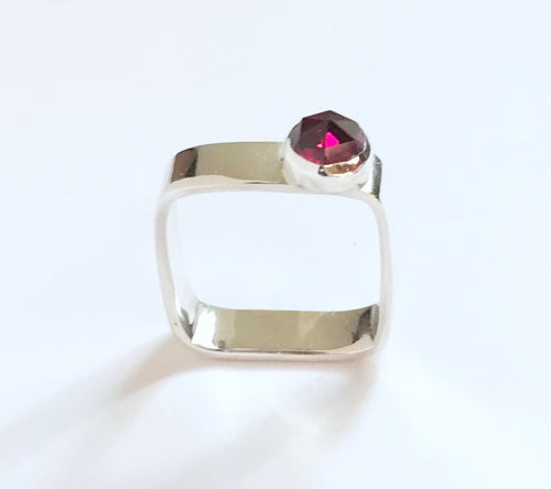Square Sterling Silver Simulated Rose Cut Ruby Ring