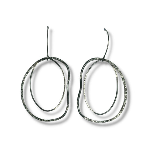 Hammered Sterling Silver Abstract Circles earrings.