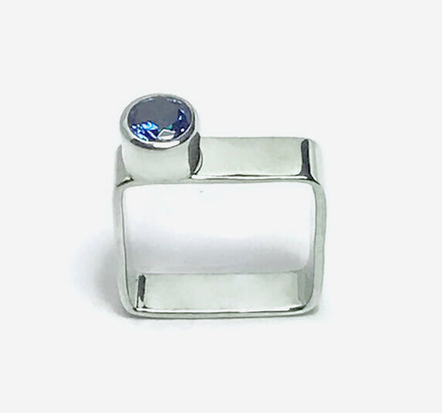 Square Sterling Silver Simulated Topaz Ring