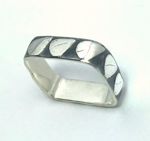 Sterling Silver square etched and oxidized band