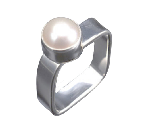 Square Sterling Silver Pearl ring