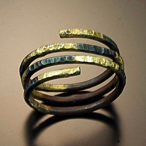 Steel Wrap ring with 20 Karat Fused Gold
