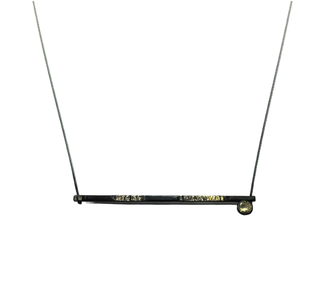 Minimalist necklace Steel fused with 20 Karat Gold sterling set simulated faceted Topaz
