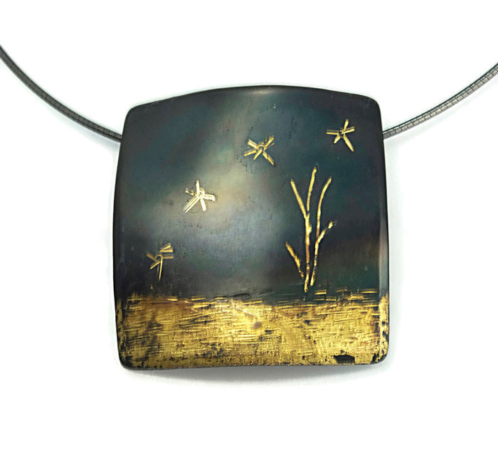 Dragonflies Pendant Steel fused with 20 Karat Gold